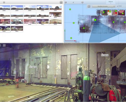 webshare: linksboven de panoramafoto's, rechtsboven de plattegrond, onder de fotorealistische weergave waarin o.a. bemating kan worden aangebracht